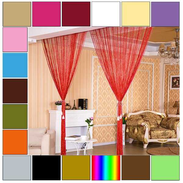Home Decor Threads Glitter String Curtains One Panel 39'x78'