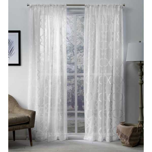 ATI Home Muse Jacquard Sheer Rod Pocket Top Curtain Panel Pair