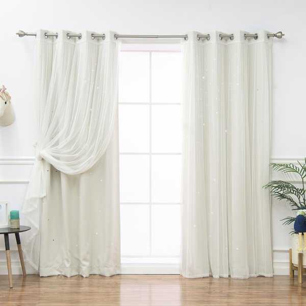 Aurora Home Mix & Match Star Cut Out and Tulle 4 Piece Curtain Panel Set