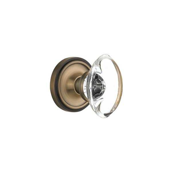 Nostalgic Warehouse CLAOCC_SD_NK Oval Clear Crystal Solid Brass Single Dummy Knob with Classic Rose - N/A