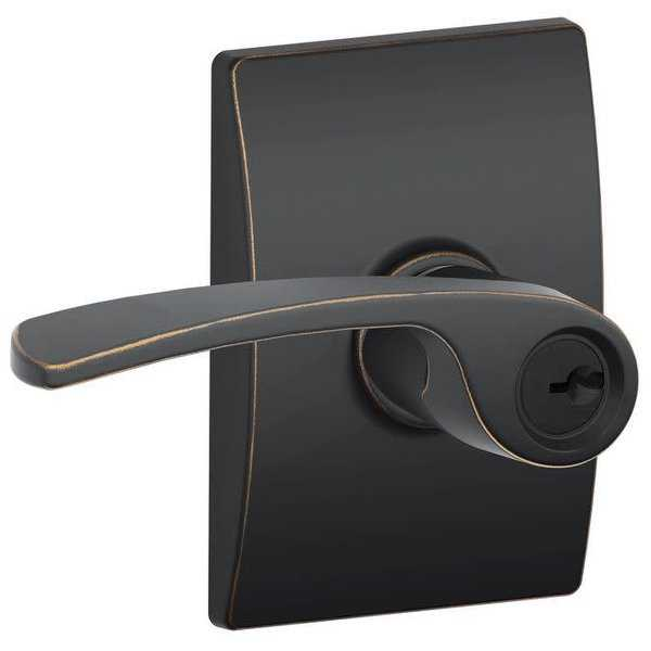 Schlage F51-MER-CEN Merano Single Cylinder Keyed Entry Door Lever Set with Decorative Century Trim from the F-Series - N/A