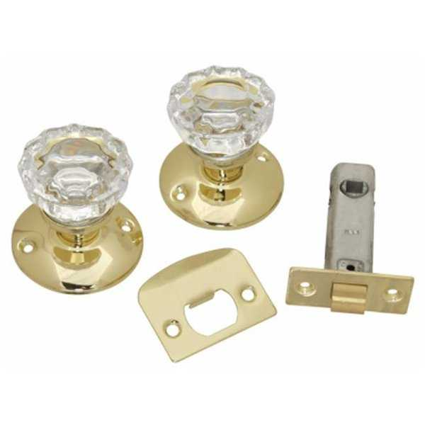 Passage Door Latch Set, Glass Knobs - Polished Brass