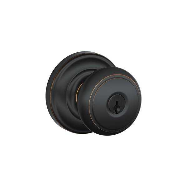 Schlage FA51-AND F51A Andover Single Cylinder Keyed Entry Door Knob Set with Andover Rose from the F-Series - N/A