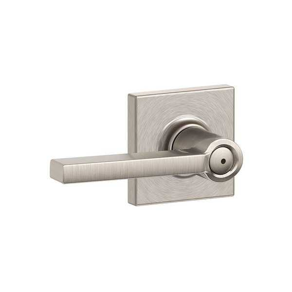 Schlage F40-LAT-COL Latitude Privacy Door Lever Set with Decorative Collins Trim - Satin Nickel - N/A