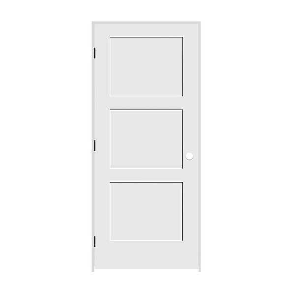 Trimlite 3068138-8433RH1D6916 36' by 80' Shaker 3-Panel Right Handed Interior Pr - Primed - N/A