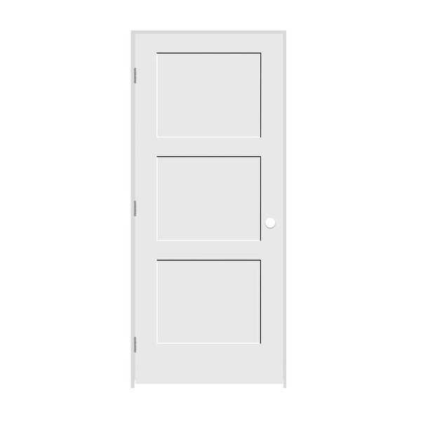 Trimlite 2268138-8433RH26D714 26' by 80' Shaker 3-Panel Right Handed Interior Pr - Primed - N/A