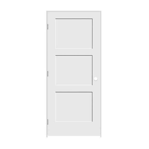 Trimlite 2668138-8433RH156916 30' by 80' Shaker 3-Panel Right Handed Interior Pr - Primed - N/A