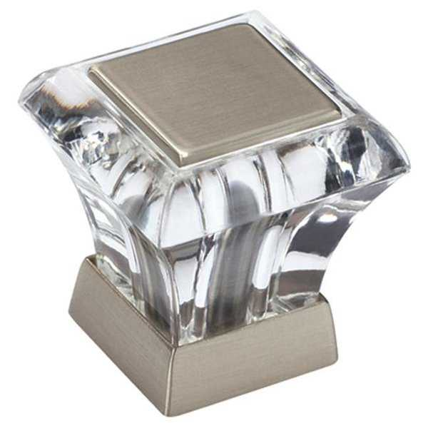A29460 CG10 Amerock Knob Square Abernathy Glass, Satin Nickel